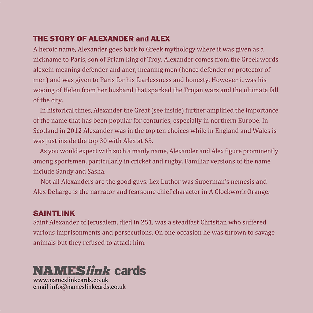 Alex card back