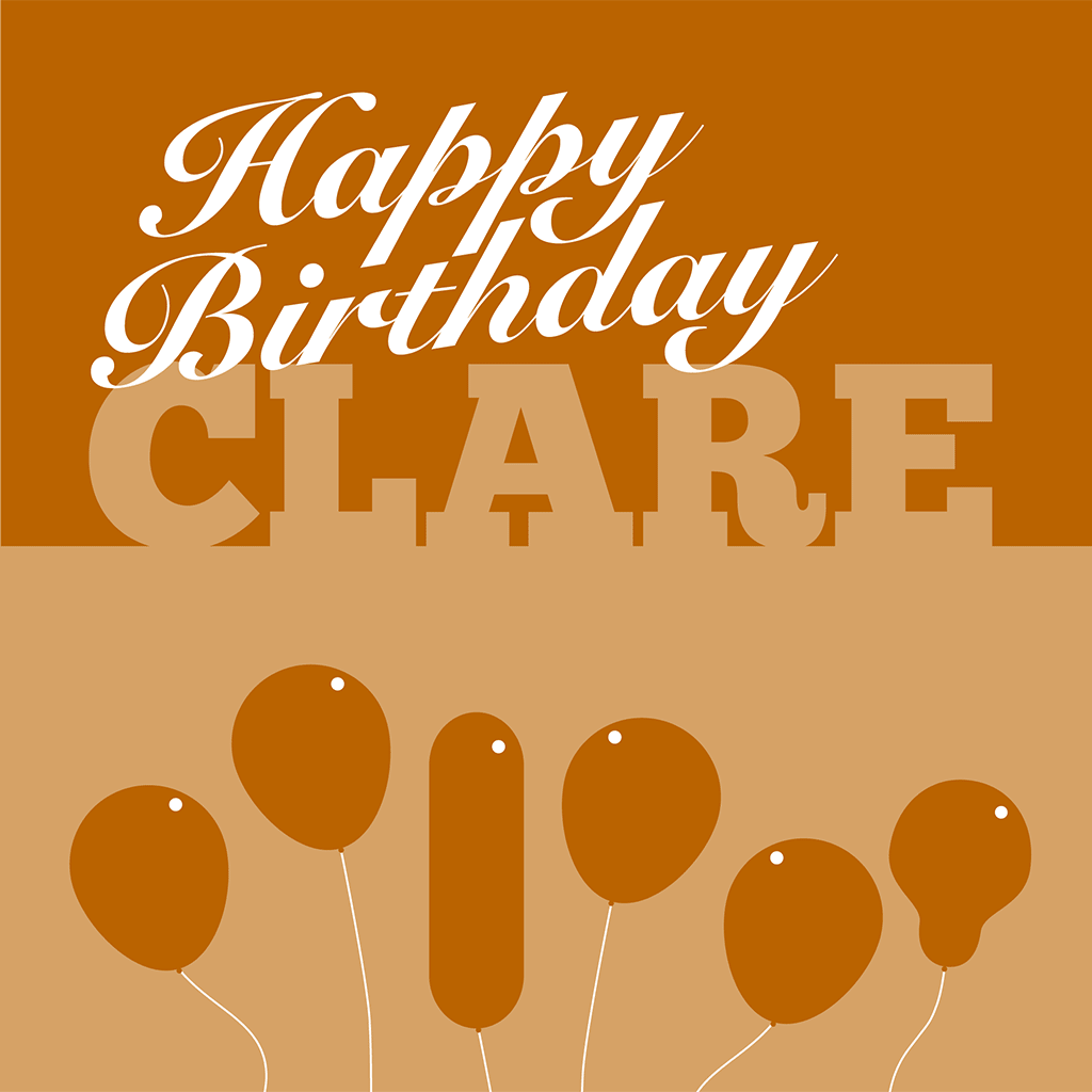 Happy Birthday Clare Card