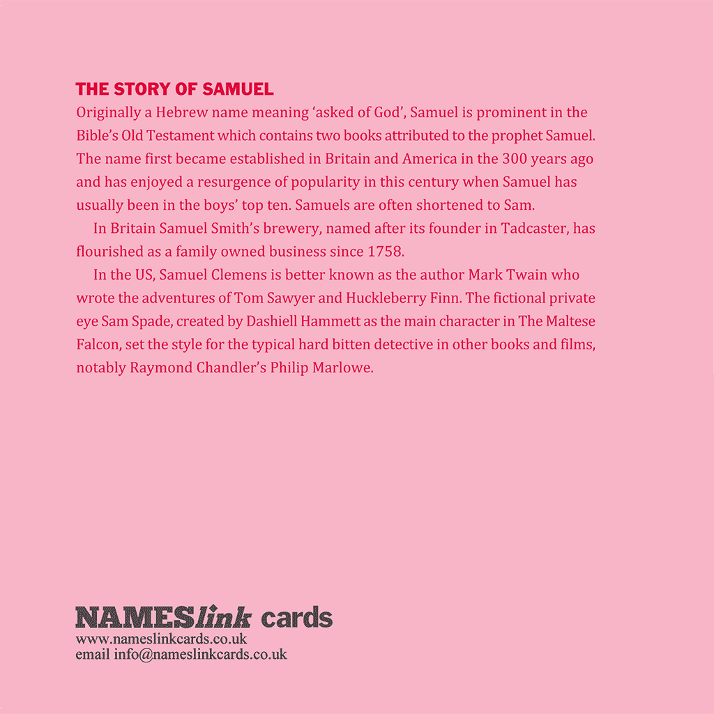 Samuel card back