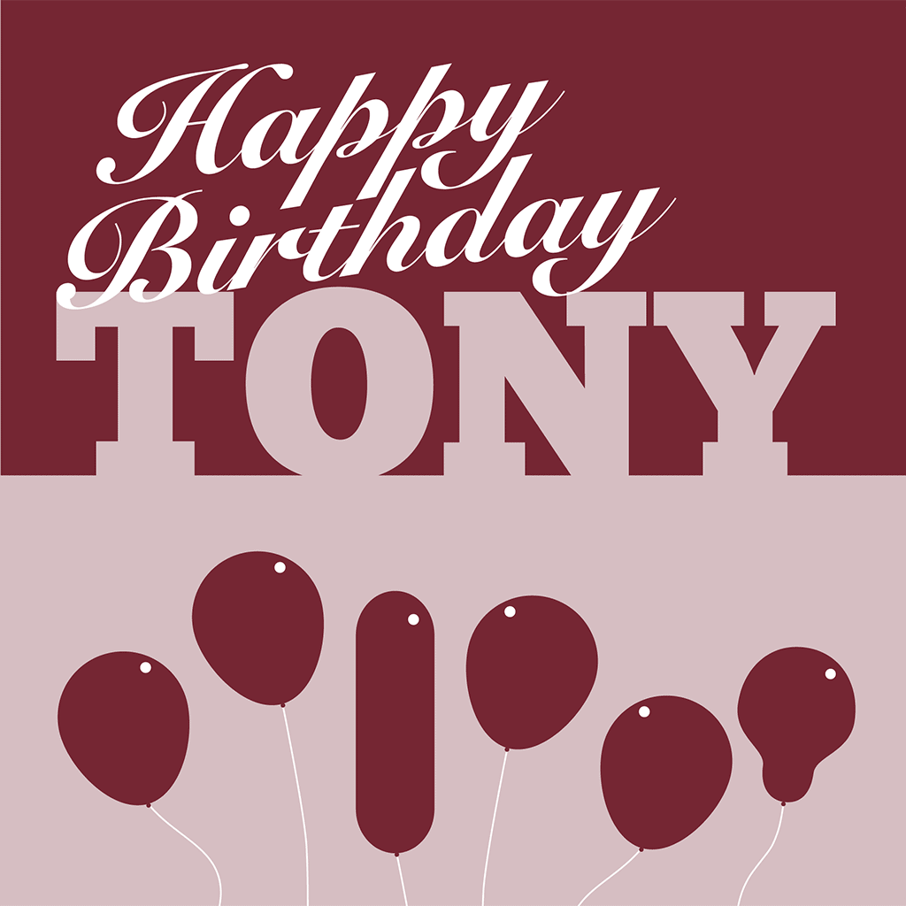 Happy Birthday Tony Card