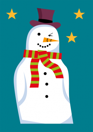 Christmas Snowman Card Front